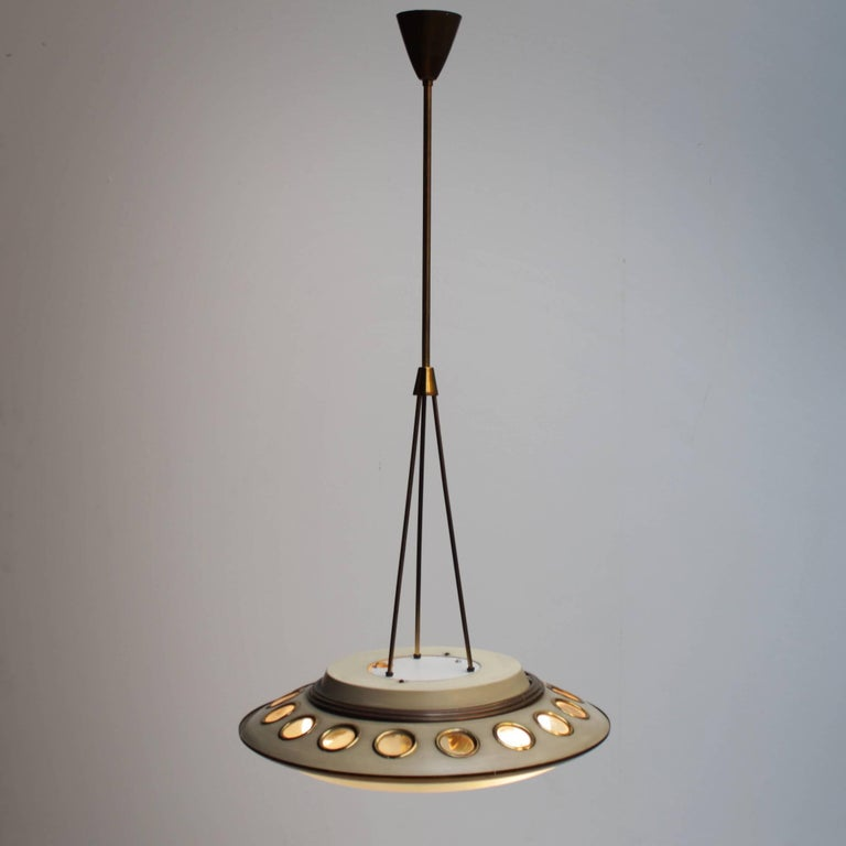 Lacquered Italian Pendant Lamp by Lumen Milano For Sale