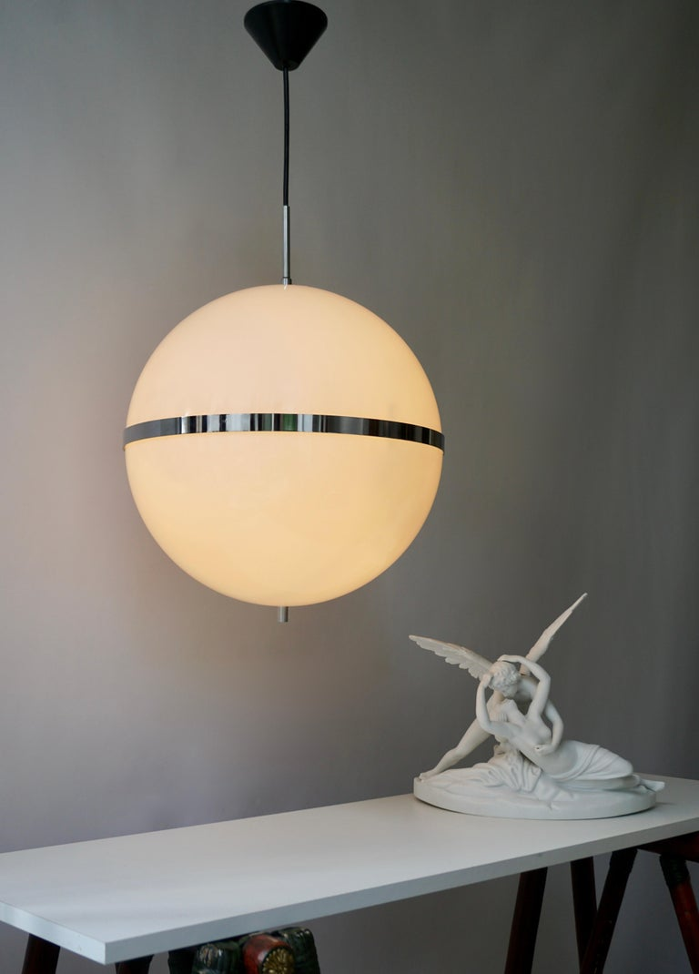 Italian Pendant Lamp in White Plastic and Chrome, 1970s For Sale 7