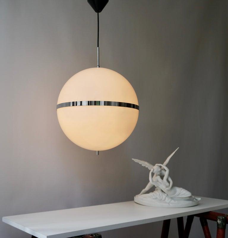 Mid-Century Modern Italian Pendant Lamp in White Plastic and Chrome, 1970s For Sale