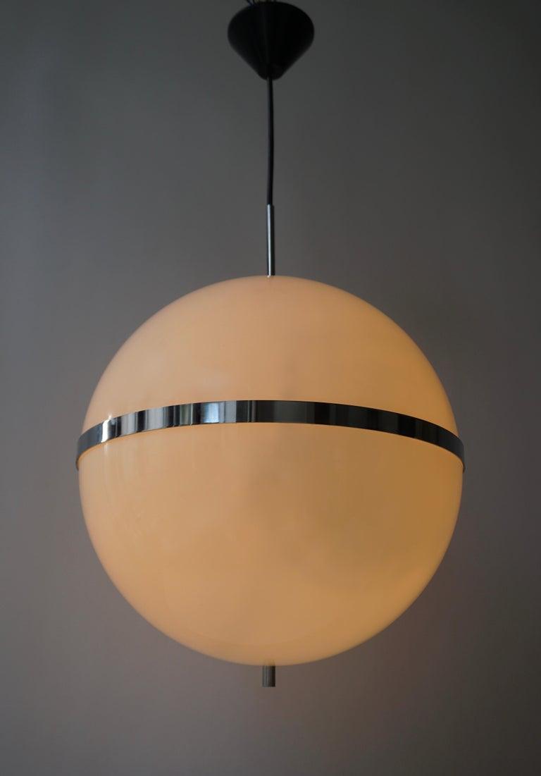 20th Century Italian Pendant Lamp in White Plastic and Chrome, 1970s For Sale