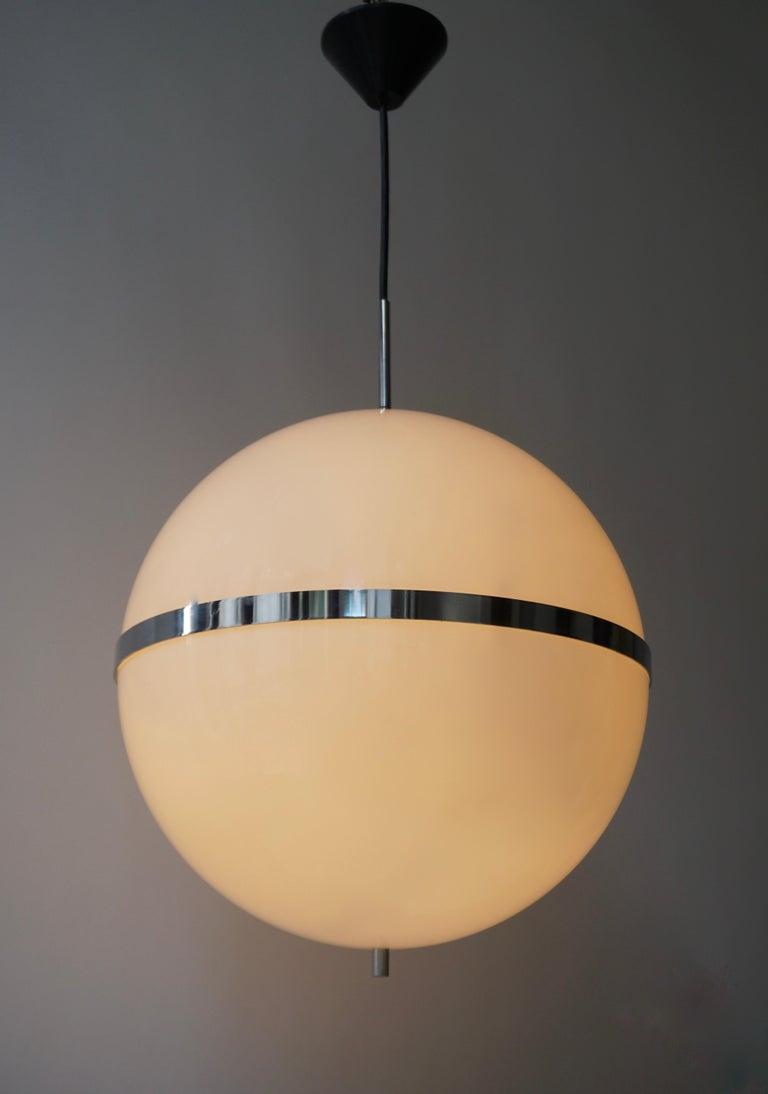 Italian Pendant Lamp in White Plastic and Chrome, 1970s For Sale 1