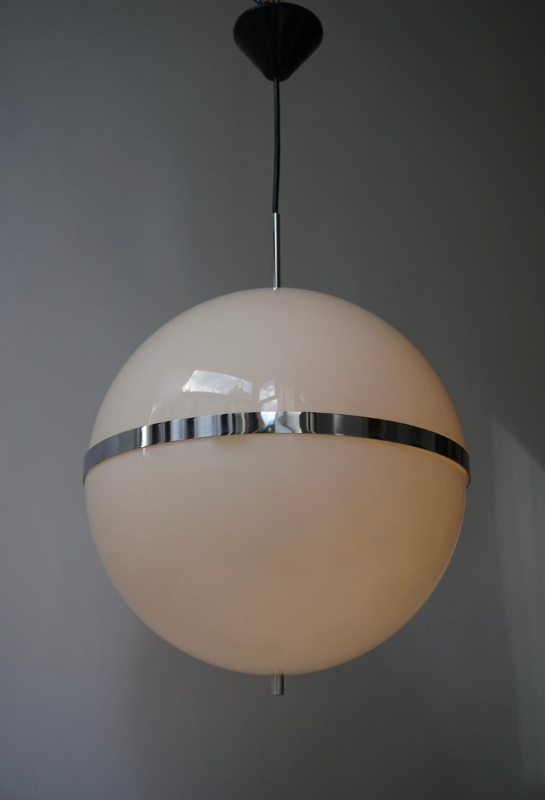 Italian Pendant Lamp in White Plastic and Chrome, 1970s For Sale 2