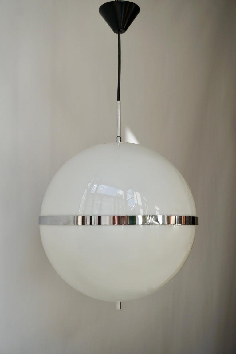 Italian Pendant Lamp in White Plastic and Chrome, 1970s For Sale 4