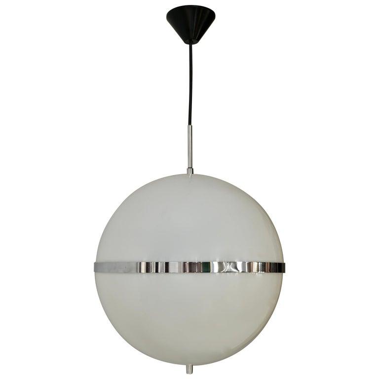 Italian Pendant Lamp in White Plastic and Chrome, 1970s For Sale