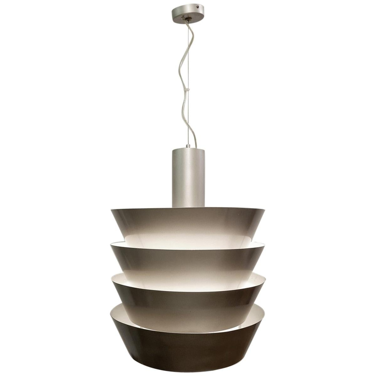 Italian Pendant Light in Silver Metal, 1960s