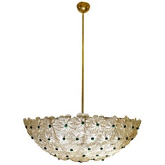 Italian Pendant Light Murano Flowers in Clear Crystal Glass with Gold Flecks