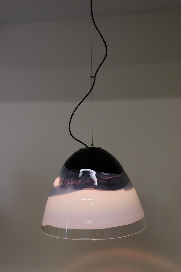 Italian Pendant Light Murano Hand Blown Glass by Murano Due For Sale 1