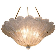"Italian Pendant Light Murano Hand Blown Glass in Crystal ""Graniglia"" Gold Finish"