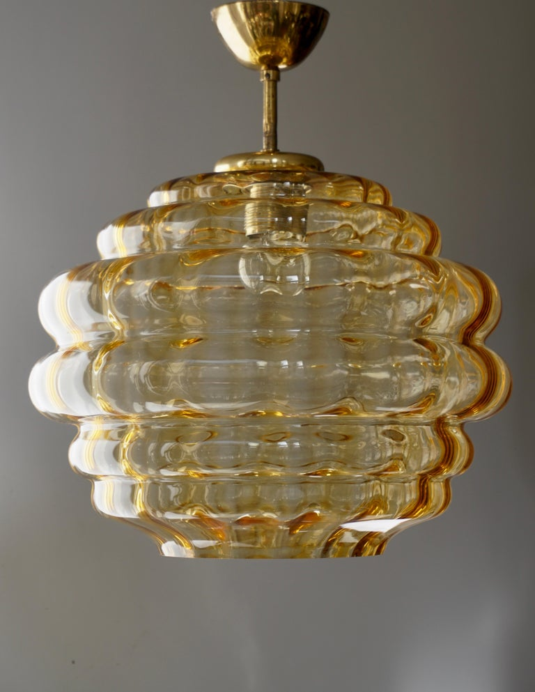 Ceiling light, Murano glass and brass, Italy, 1970s. 