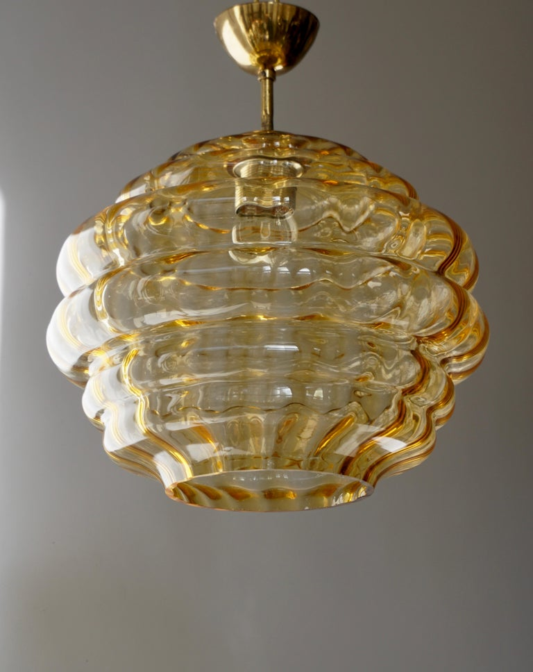 Mid-Century Modern Italian Pendant with Colored Murano Glass Shade, 1970s For Sale
