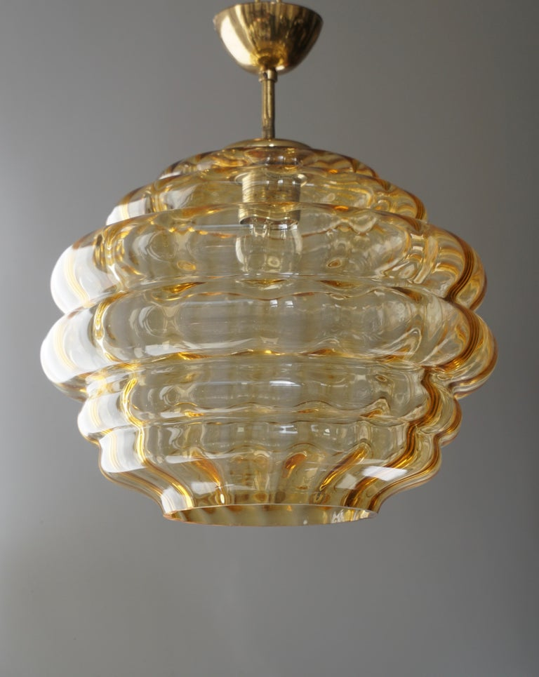 Italian Pendant with Colored Murano Glass Shade, 1970s In Good Condition For Sale In Antwerp, BE