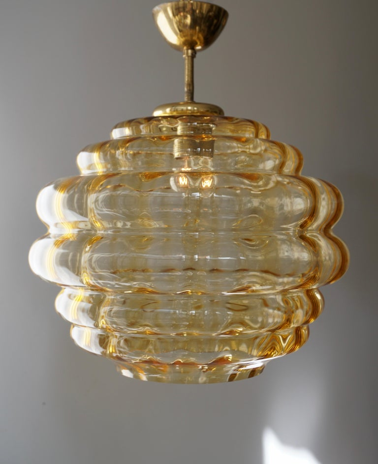 20th Century Italian Pendant with Colored Murano Glass Shade, 1970s For Sale
