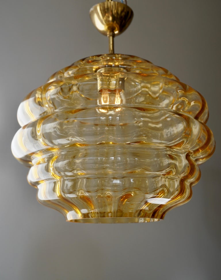Brass Italian Pendant with Colored Murano Glass Shade, 1970s For Sale