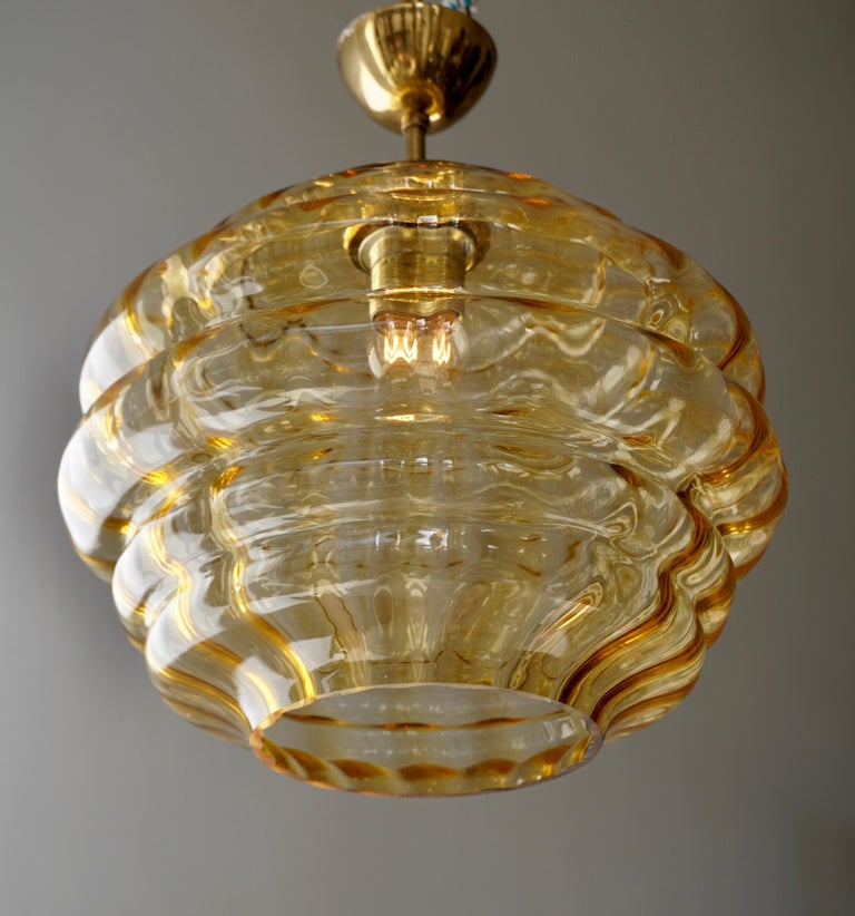 Italian Pendant with Colored Murano Glass Shade, 1970s For Sale 2