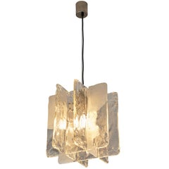 Italian Pendant with Structured Glass and Brass