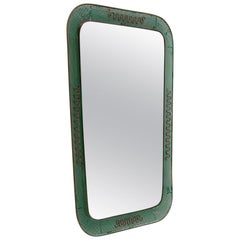 Italian Perforated Metal and Brass Frame Mirror, 1950s