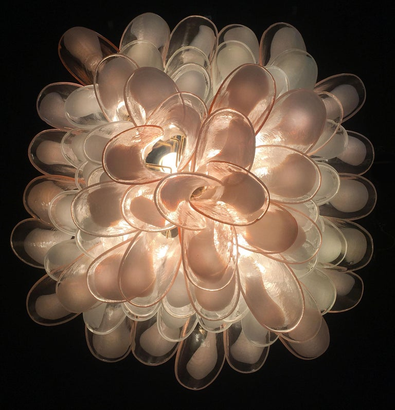 Italian Petals Chandelier Ceiling Light, Murano In Excellent Condition In Budapest, HU