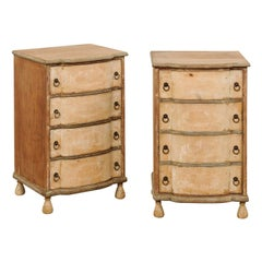 Italian Petite Comodini '1 with Drawers and 1 a Cabinet with Faux Drawers', Pair