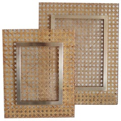 Italian Picture Frame or Photo Frame in Plexiglass, Brass and Wicker, 1970s
