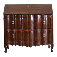Italian, Piemonte, Carved Walnut and Inlaid 2-Drawer Ribalta, Mid-18th Century