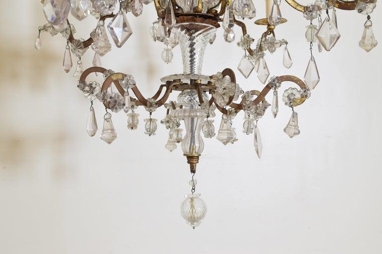Italian, Piemonte, Gilt Iron and Blown Glass 8-Arm Chandelier, Late 18th Century 6