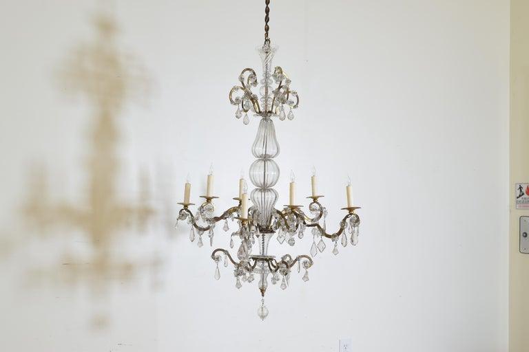 Rococo Italian, Piemonte, Gilt Iron and Blown Glass 8-Arm Chandelier, Late 18th Century