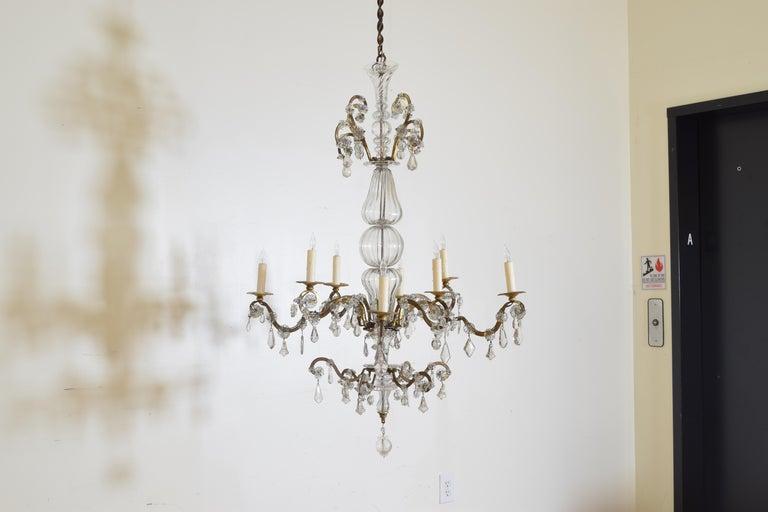 Italian, Piemonte, Gilt Iron and Blown Glass 8-Arm Chandelier, Late 18th Century In Good Condition In Atlanta, GA