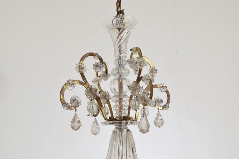Mid-18th Century Italian, Piemonte, Gilt Iron and Blown Glass 8-Arm Chandelier, Late 18th Century