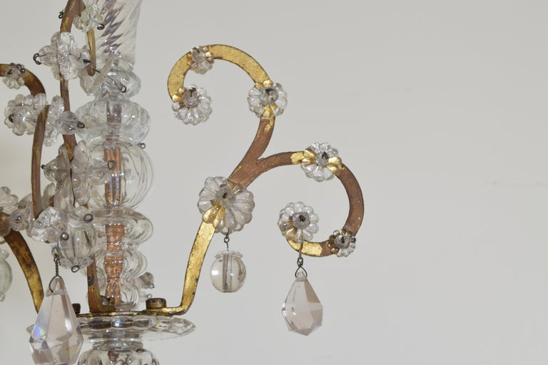 Italian, Piemonte, Gilt Iron and Blown Glass 8-Arm Chandelier, Late 18th Century 1
