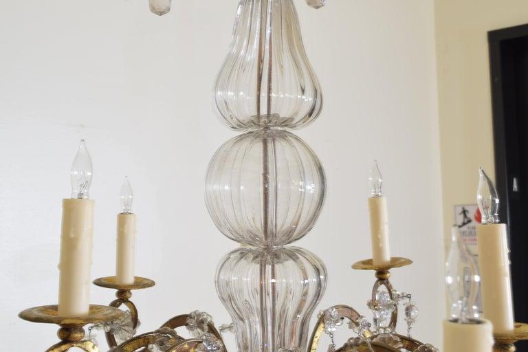 Italian, Piemonte, Gilt Iron and Blown Glass 8-Arm Chandelier, Late 18th Century 2