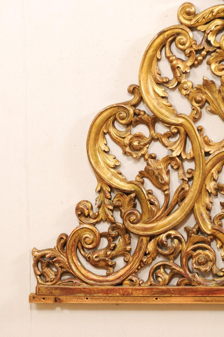 Italian Pierce-Carved and Giltwood Fragment Stands Great Headboard In Good Condition For Sale In Atlanta, GA