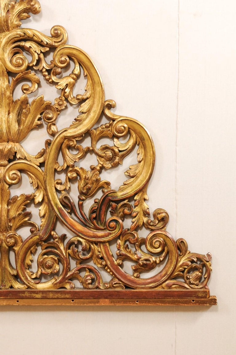 20th Century Italian Pierce-Carved and Giltwood Fragment Stands Great Headboard For Sale