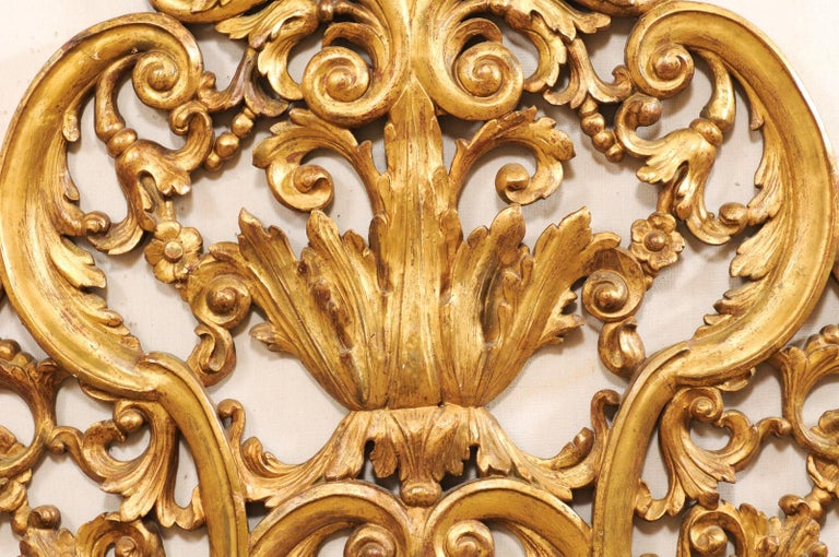 Wood Italian Pierce-Carved and Giltwood Fragment Stands Great Headboard For Sale