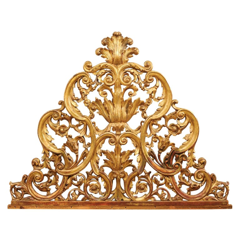 Italian Pierce-Carved and Giltwood Fragment Stands Great Headboard For Sale