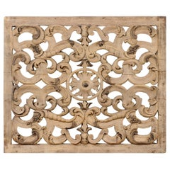 Italian Pierce-Carved Wood Plaque in Scrolling Acanthus Leaf Motif