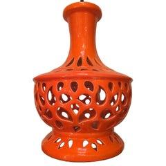 Italian Pierced Porcelain Table Lamp