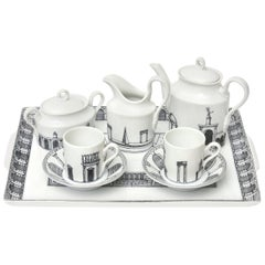 "Italian Piero Fornasetti Rare Porcelain Tea or Coffee Set Titled ""Architettura"""