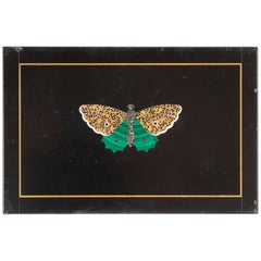 Italian Pietra Dura Butterfly Paperweight with Malachite