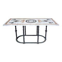 Italian Pietra Dura Marble Inlay Garden Dining Table