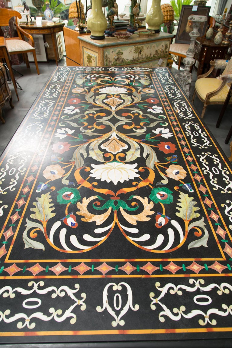 Italian Pietra Dura Marble Table and Plinths For Sale 4