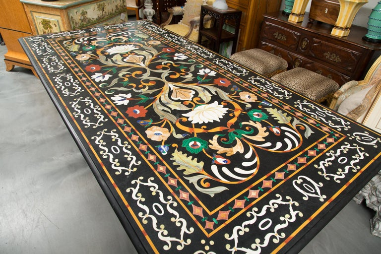 Italian Pietra Dura Marble Table and Plinths For Sale 5