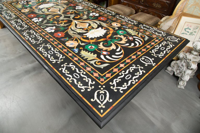Italian Pietra Dura Marble Table and Plinths For Sale 6
