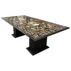 Italian Pietra Dura Marble Table and Plinths