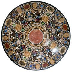 Italian Pietra Dura Mosaic Inlay Stone Round Tabletop in Florentine Style