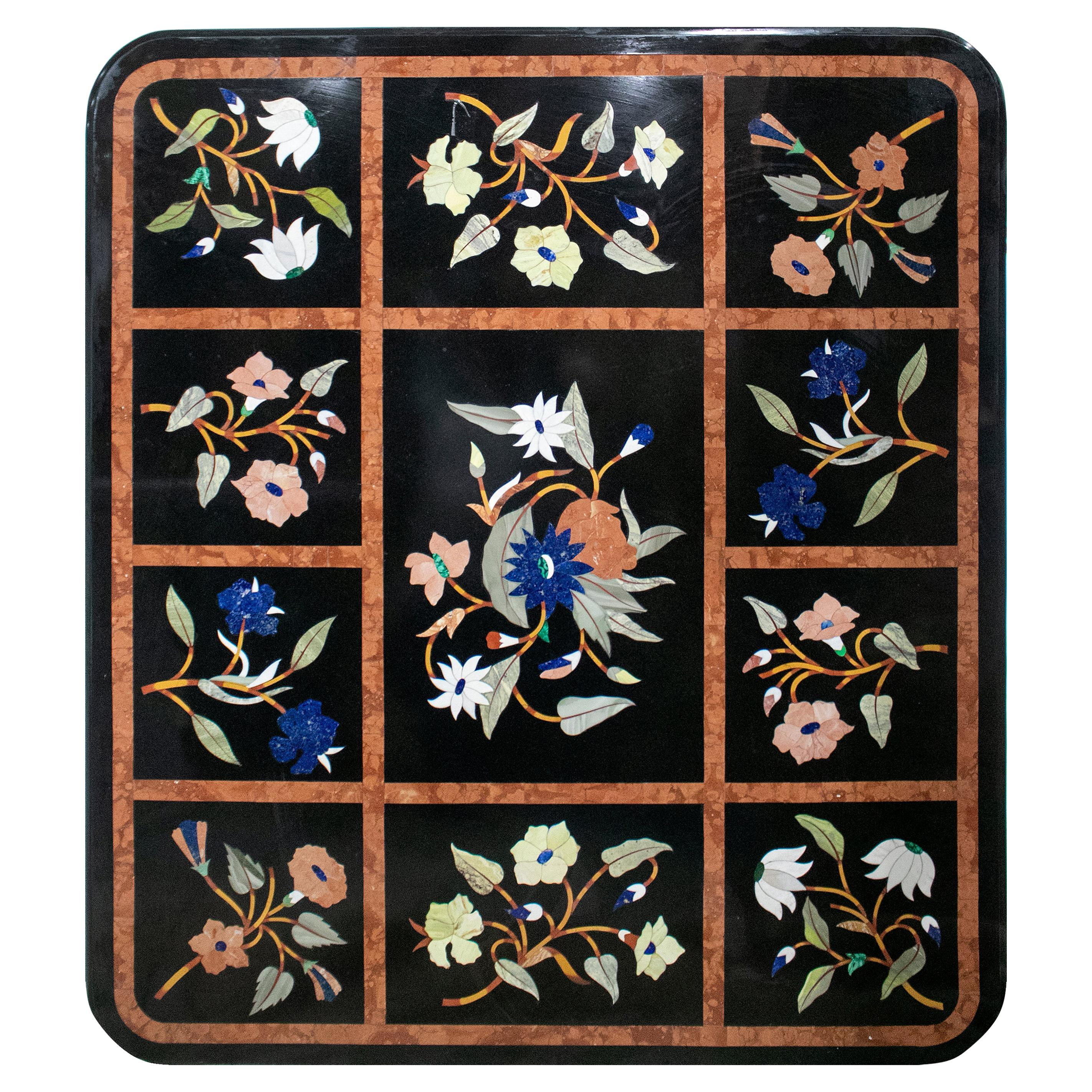 Italian Pietre Dure Inlay Stone Table Top with Ornamental Flower Decorations