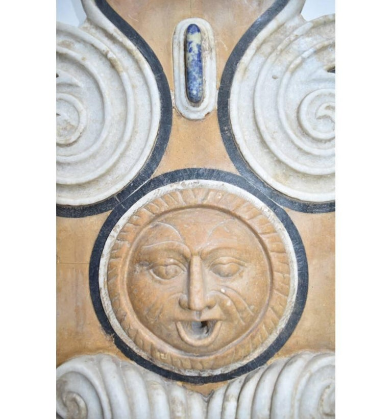 Renaissance Italian Pietre Dure Mosaic Handmade Aged Marble Stone Fountain For Sale