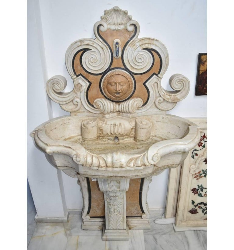 Italian Pietre Dure Mosaic Handmade Aged Marble Stone Fountain In Good Condition For Sale In Malaga, ES