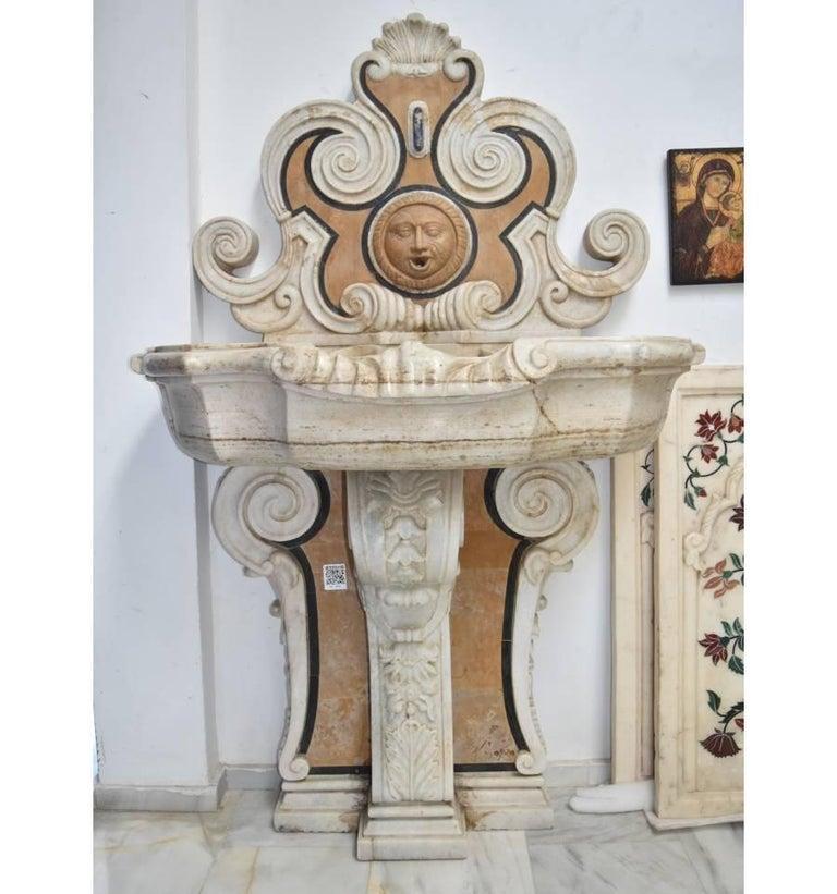 20th Century Italian Pietre Dure Mosaic Handmade Aged Marble Stone Fountain For Sale