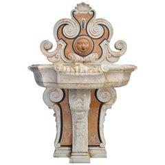 Italian Pietre Dure Mosaic Handmade Aged Marble Stone Fountain