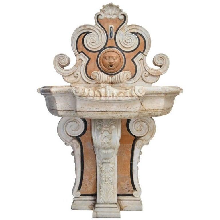 Italian Pietre Dure Mosaic Handmade Aged Marble Stone Fountain For Sale